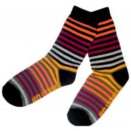 Spalvotos kojinės Smulkios juostelės (Juoda oranžinė)
