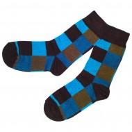 Spalvotos kojinės mėlyni  ir rudi Kvadratėliai