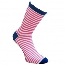Dryžuotos kojinės Balta rožinė
