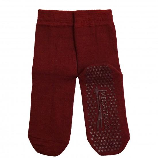 Gumuotais padais šiltos plonos vilnonės kojinės Bordo