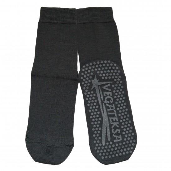 Gumuotais padais šiltos plonos vilnonės kojinės Pilka grafitas