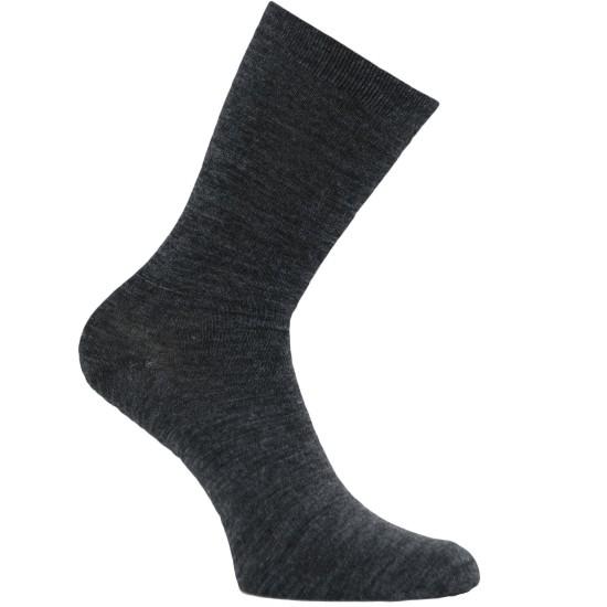 Gumuotais padais šiltos plonos vilnonės kojinės Tamsiai pilka melanžas