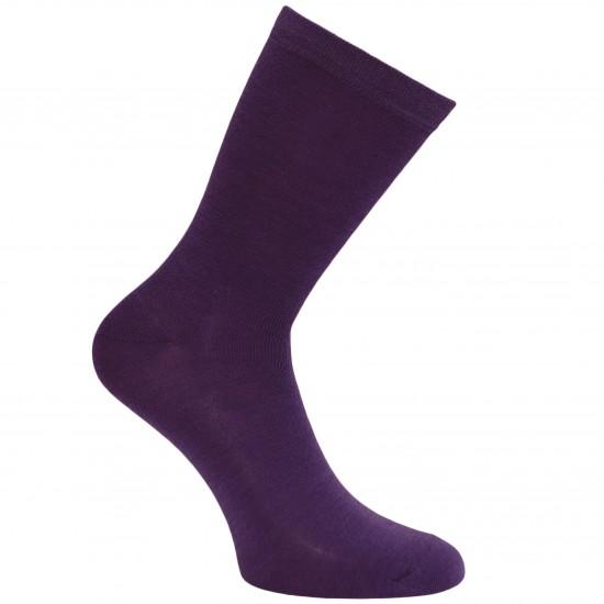 Gumuotais padais šiltos plonos vilnonės kojinės Tamsiai violetinė