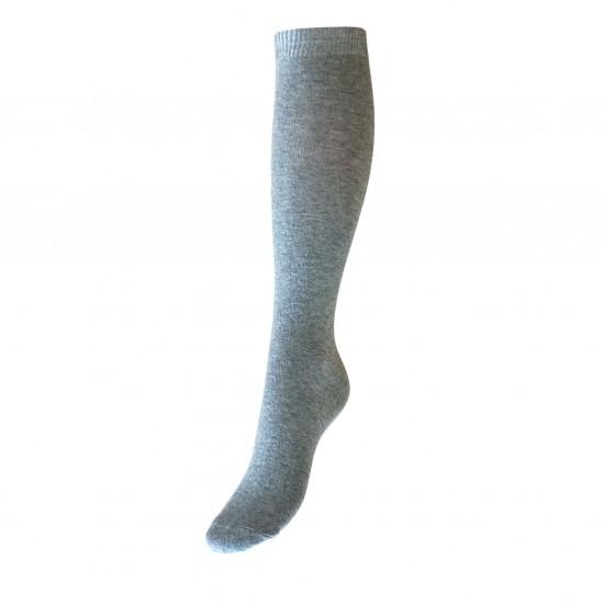 Šviesiai pilkos vienspalvės kojinės iki kelių