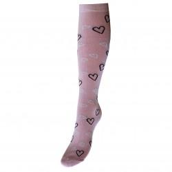 Blankiai rožinės kojinės iki kelių Širdelės su blizgučiu