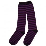 Dryžuotos kojinės iki kelių Violetinė juoda