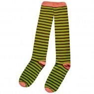 Dryžuotos kojinės iki kelių Žalia rožinė