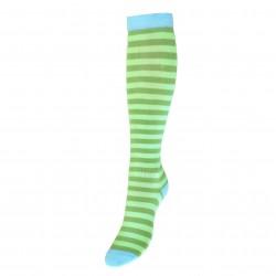 Dryžuotos kojinės iki kelių Žalia šviesiai mėlyna