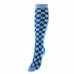 Mėlynos kojinės iki kelių Kvadratėliai