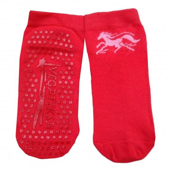Gumuotais padais trumpos sporto ir laisvalaikio kojinės raudonas Žirgas