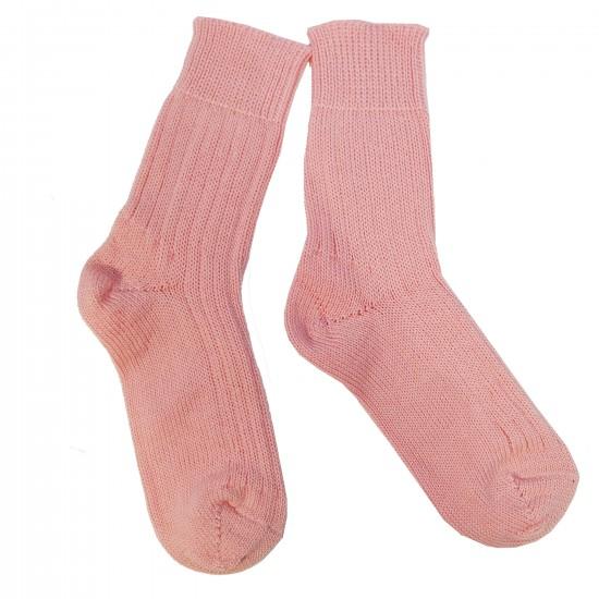 Šiltos vilnonės Pilno Ripe rašto kojinės Šviesiai rožinė