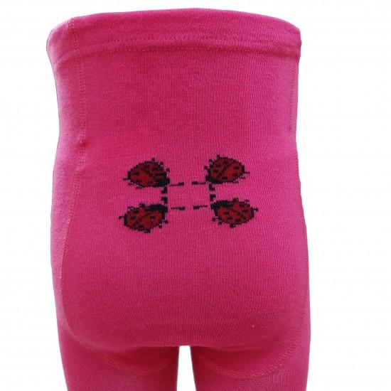 Rožinės pėdkelnės vaikams Boružėlės