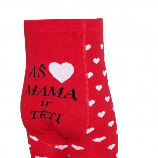 Raudonos pėdkelnės vaikams Aš myliu mamą ir tėtį